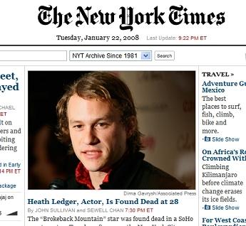 Heath ledger dies